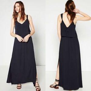 Zara Bow Back Navy Side Slits Flounce Maxi Dress